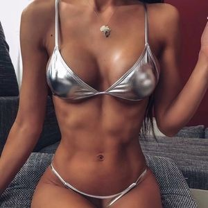Silver triangle bikini top and bottom
